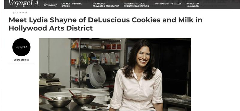 VoyageLA Article Meet Lydia Shayne of DeLuscious Cookies and Milk in Hollywood Arts District